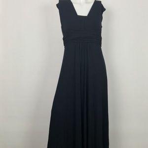 Anthropologie Dress Maxi Long Black Rayon Sz S P